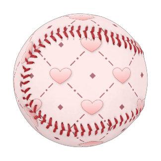 Pink diagonal pattern pink candy hearts baseball