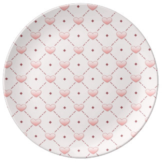Pink diagonal pattern pink candy hearts dinner plate