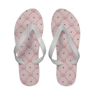 Pink diagonal pattern pink candy hearts flip flops