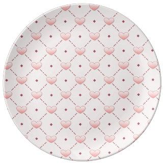 Pink diagonal pattern pink candy hearts porcelain plates
