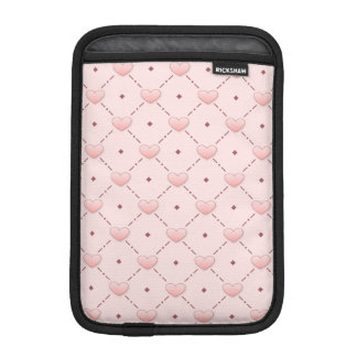 Pink diagonal pattern pink candy hearts sleeve for iPad mini