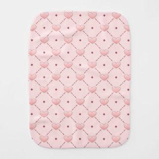 Pink diagonal pattern pink candy hearts burp cloths