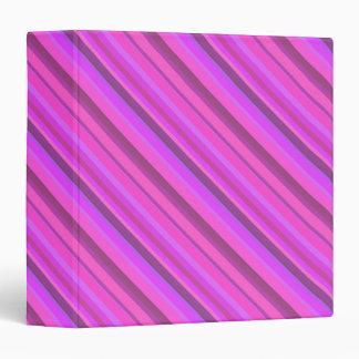 Pink diagonal stripes 3 ring binder