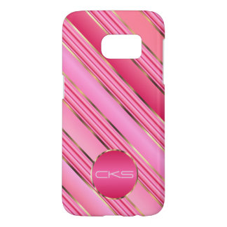 Pink Diagonal Stripes and Gold | Monogram Samsung Galaxy S7 Case