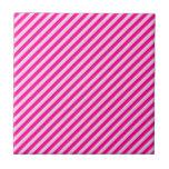 Pink Diagonal Stripes Ceramic Tile