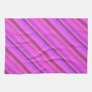 Pink diagonal stripes hand towel