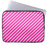 Pink Diagonal Stripes Laptop Sleeve
