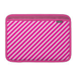 Pink Diagonal Stripes MacBook Sleeve