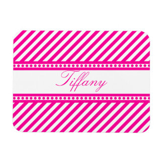 Pink Diagonal Stripes Magnet