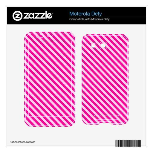 Pink Diagonal Stripes Motorola Defy Skins
