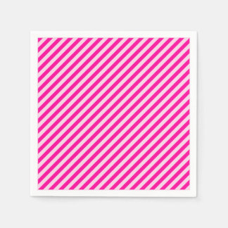 Pink Diagonal Stripes Paper Napkin