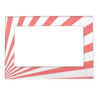 Pink Diagonal Stripes Rays Magnetic Frame