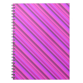 Pink diagonal stripes spiral notebook