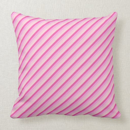 Pink Diagonal Stripes Throw Pillow