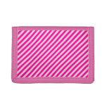 Pink Diagonal Stripes Trifold Wallet