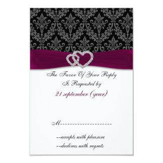 pink diamante damask standard 3.5 x 5 wedding card