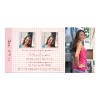 Pink diamond 3 photo graduation party announcement photo greeting card