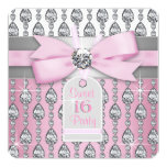 Pink Diamond Birthday Party Customized Announcement Card