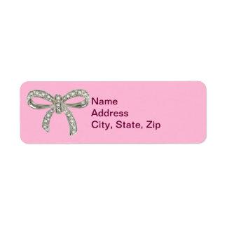 Pink Diamond Bow Wedding Address Labels