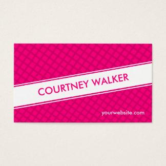 Pink diamond checkered modern business cards