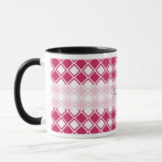 Pink Diamond Customizeable Pattern with Heart Mug