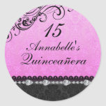 Pink Diamond & Damask Quinceanera Sticker