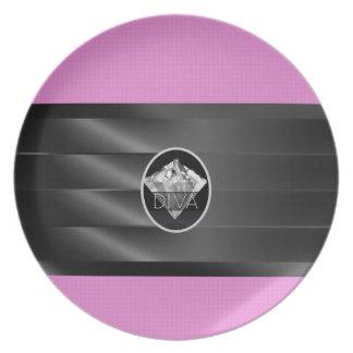 Pink Diamond Diva Melamine Plate