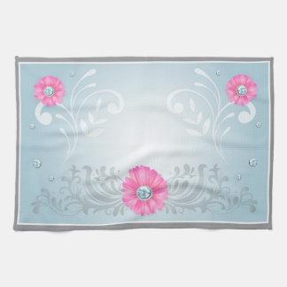 Pink Diamond Floral Design Hand Towel