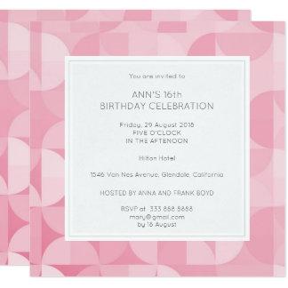 Pink Diamond Geometric Birthday Party Blue Card