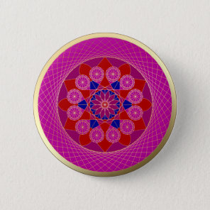 Pink Diamond Gold Trim Mandala button