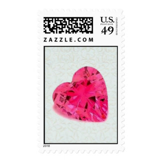 Pink Diamond Heart on White Floral Postage Stamp