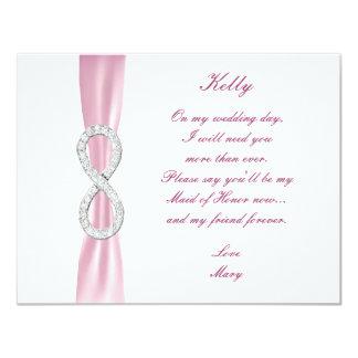 Pink Diamond Infinity Wedding Maid Of Honor Card