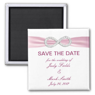 Pink Diamond Infinity Wedding Save The Date Magnet