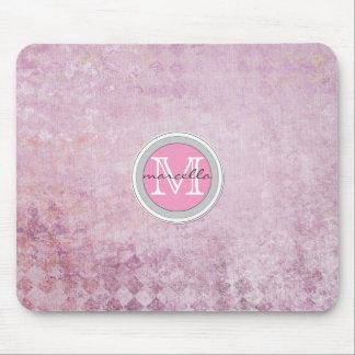 Pink Diamond Pattern Background Monogram Mouse Pad