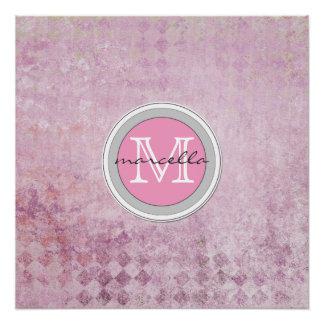 Pink Diamond Pattern Background Monogram Poster