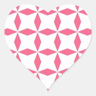 Pink Diamond Pattern Heart Sticker