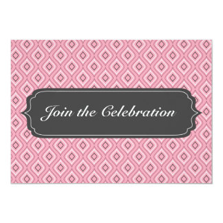Pink Diamond Pattern Invitation Card Any Occasion