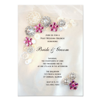 Pink Diamond Pearls Buttons Post Wedding Brunch 5x7 Paper Invitation Card