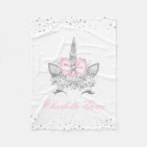 Pink Diamond Personalized Unicorn Baby Girl Fleece Blanket