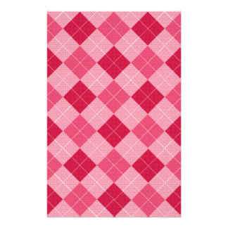 Pink Diamond Plaid Stationery