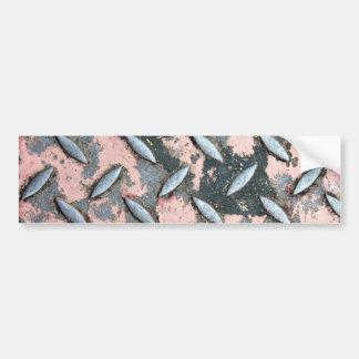 Pink Diamond Plate Metal Bumper Sticker