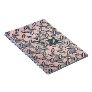 Pink Diamond Plate Metal Notebook