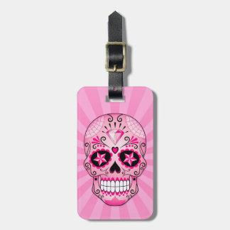 Pink Diamond Sugar Skull Luggage Tag