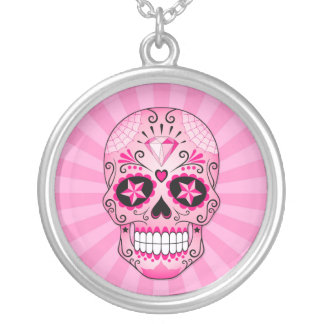 Pink Diamond Sugar Skull Silver Plated Necklace