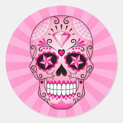 Pink Diamond Sugar Skull Sticker