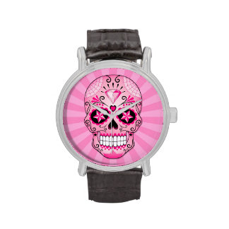 Pink Diamond Sugar Skull Wrist Watch