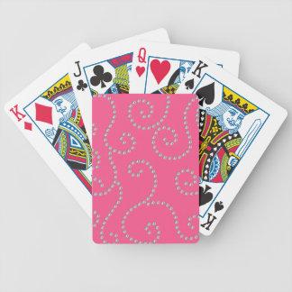 Pink diamond swirls bicycle card decks