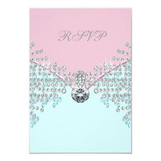 Pink Diamond Teal Blue Sweet Sixteen Birthday RSVP Card