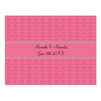 Pink diamond wedding favors post cards