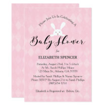 Pink Diamond White Rabbit Baby Shower Invitation